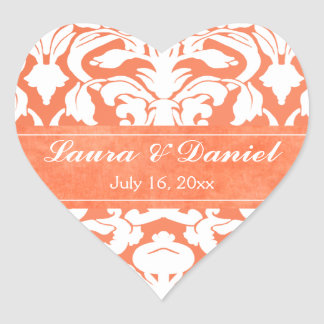 "Orange and White Damask 1.5"" Wedding Sticker"