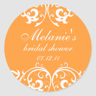 Orange and White Damask Bridal Shower Sticker