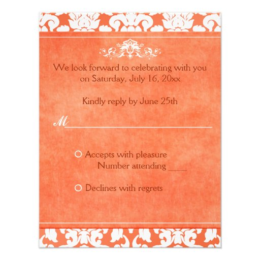 Orange and White Damask Reply Card