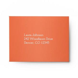 Orange and White Damask Return Address A2 Envelope envelope