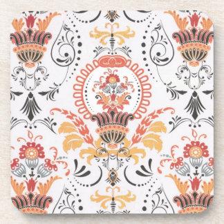 Orange and white damask...set of 4 coasters