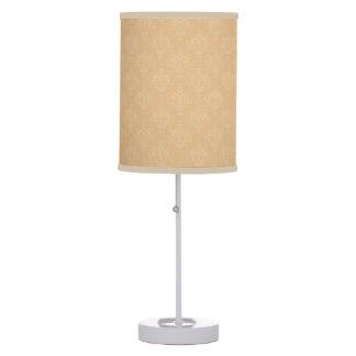 Orange and White Damask Table Lamp