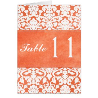Orange and White Damask Table Number Card