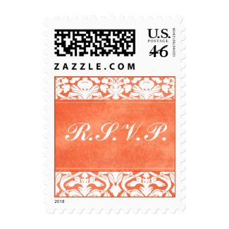 Orange and White Damask Wedding RSVP Postage stamp