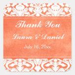 Orange and White Damask Wedding Sticker