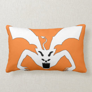 Orange And White Devil Lumbar Pillow