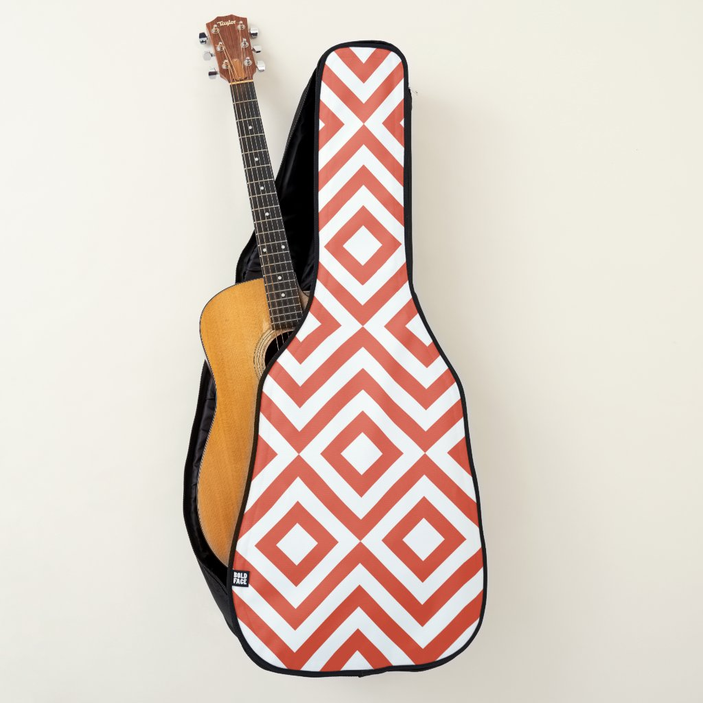 Orange and White Diamonds and Zigzags Guitar Case