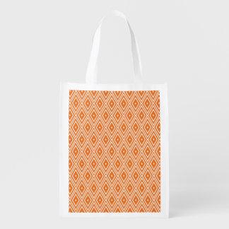 Orange and White Diamonds Design Grocery Bags