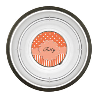 Orange and White Dots and Stripes Pet Bowl