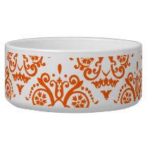 Orange and White Elegant Damask Bowl