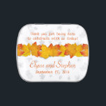 """Orange and White Fall Wedding Personaized Mint Tin<br><div class=""""desc"""">Fall wedding,  orange leaves on white mint tin.  Personalize with orange,  template text,  and thank guests at the wedding reception.  Add mints or an assortment of candy.</div>"""