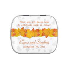 Orange And White Fall Wedding Personaized Mint Tin Jelly Belly Tins at Zazzle