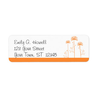 Orange and White Floral Avery Label Custom Return Address Label