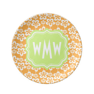 Orange and White Floral Pattern Custom Monogram Plate