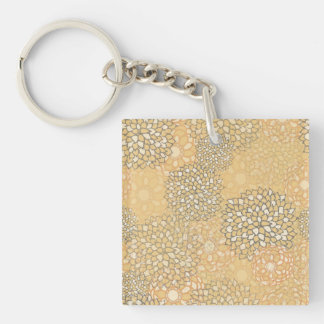 Orange and White Flower Burst Design Keychain