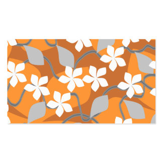 Orange and White Flowers. Floral Pattern. Business Card