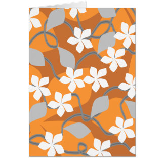 Orange and White Flowers. Floral Pattern. Card