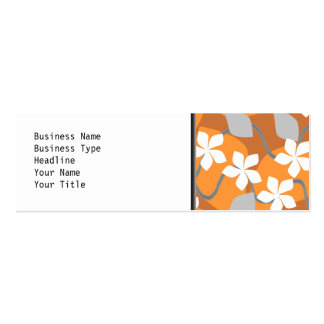 Orange and White Flowers. Floral Pattern. Mini Business Card