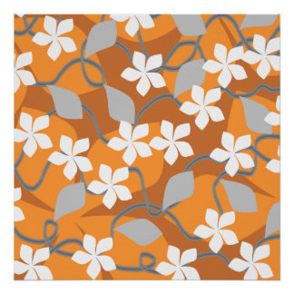 Orange and White Flowers. Floral Pattern. Posters