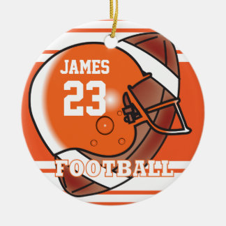 Orange and White Football Double-Sided Ceramic Round Christmas Ornament