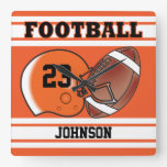 Orange and White Football Sport | Personalize Square Wall Clock