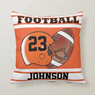 Orange and White Football Throw Pillow