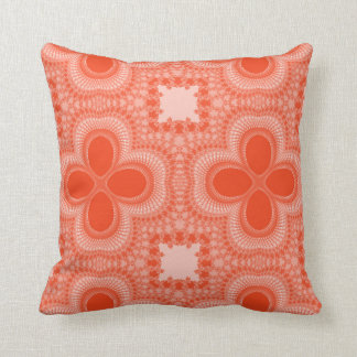 Orange and White Four Petal Flower Abstract Pillow