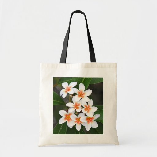 orange and white frangipani budget tote bag