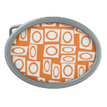 Orange and White Fun Circle Square Pattern Oval Belt Buckles