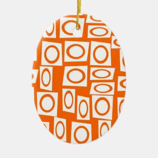 Orange and White Fun Circle Square Pattern Ceramic Ornament
