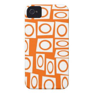 Orange and White Fun Circle Square Pattern iPhone 4 Case-Mate Case