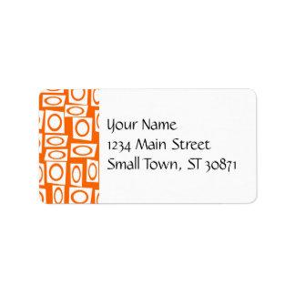 Orange and White Fun Circle Square Pattern Label