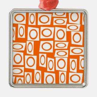 Orange and White Fun Circle Square Pattern Metal Ornament
