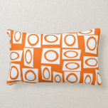 Orange and White Fun Circle Square Pattern Pillows