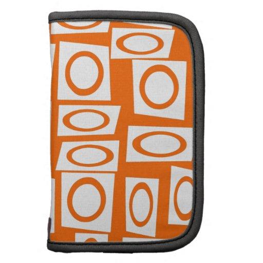 Orange and White Fun Circle Square Pattern Planner