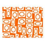 Orange and White Fun Circle Square Pattern Post Card