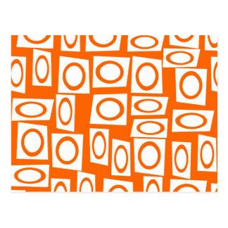 Orange and White Fun Circle Square Pattern Postcard
