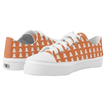 Halloween Themed Orange and White Ghosts Low-Top Sneakers
