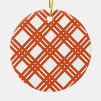 Orange and White Gingham Ceramic Ornament