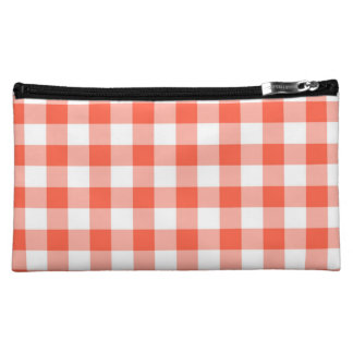 Orange And White Gingham Check Pattern Cosmetic Bag
