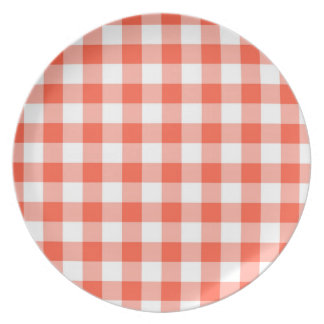 Orange And White Gingham Check Pattern Dinner Plate