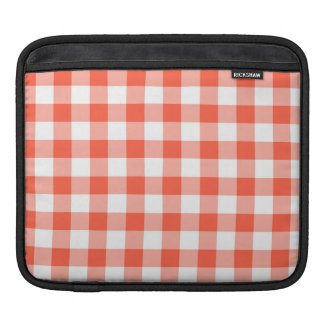 Orange And White Gingham Check Pattern Sleeves For iPads