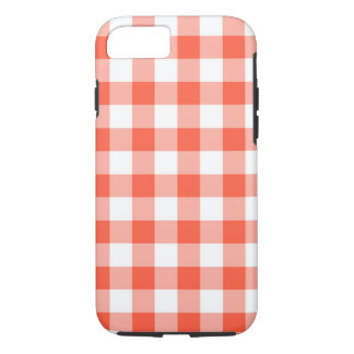 Orange And White Gingham Check Pattern iPhone 7 Case
