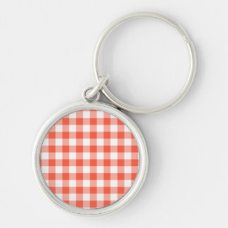 Orange And White Gingham Check Pattern Silver-Colored Round Keychain