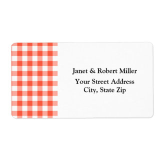 Orange And White Gingham Check Pattern Label