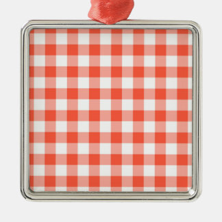 Orange And White Gingham Check Pattern Metal Ornament