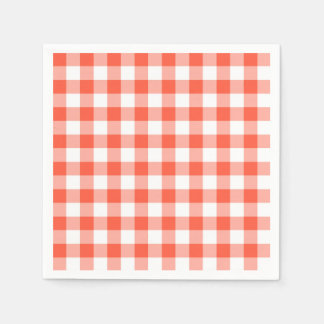 Orange And White Gingham Check Pattern Napkin