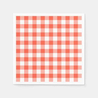 Orange And White Gingham Check Pattern Napkin
