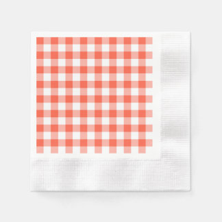 Orange And White Gingham Check Pattern Paper Napkin