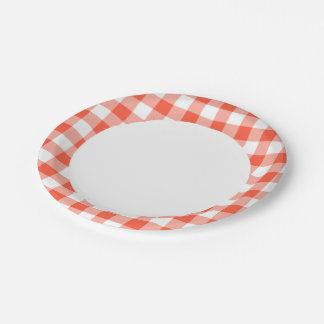 Orange And White Gingham Check Pattern Paper Plate